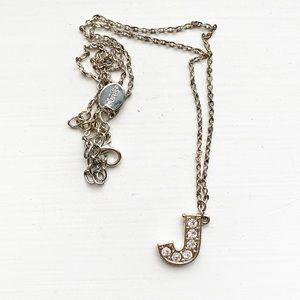 "Silver & diamond monogram letter ""J"" necklace"